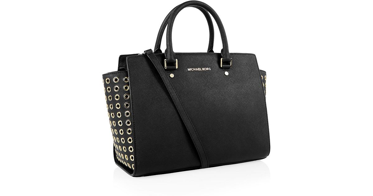 41d37fa96c33 ... coupon for michael michael kors selma grommet satchel in black lyst  24efa 60baa