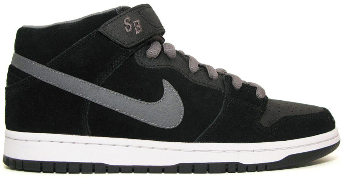 Nike Leather Sb Dunk Mid Pro Black/graphite for Men - Lyst
