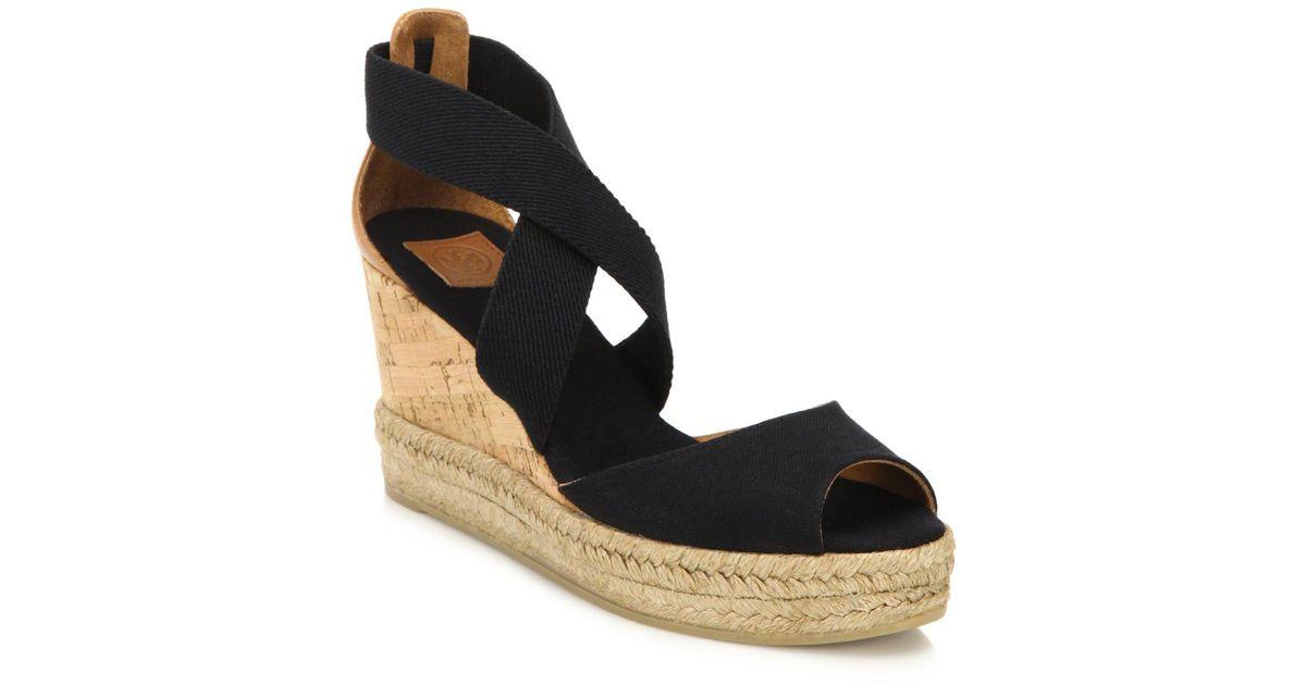 burch canvas cork espadrille wedge sandals in black