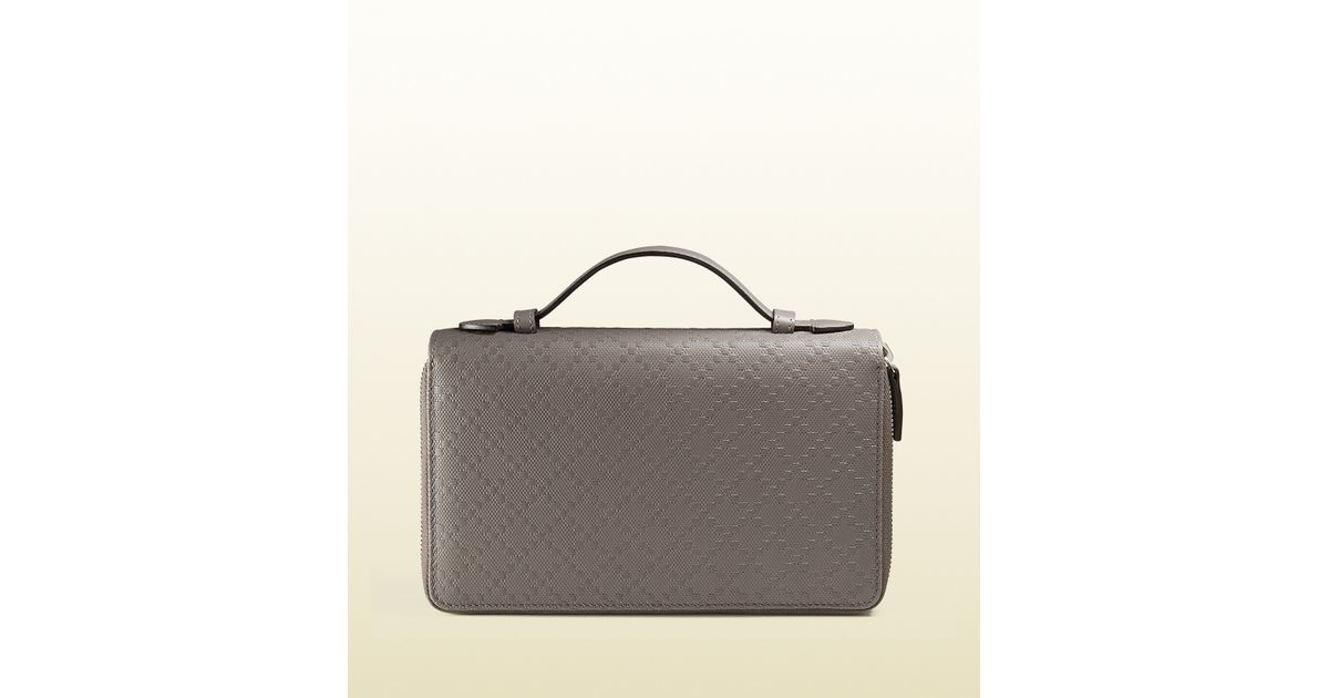 658cd52b6a16 Gucci Diamante Leather Travel Document Case in Gray for Men - Lyst