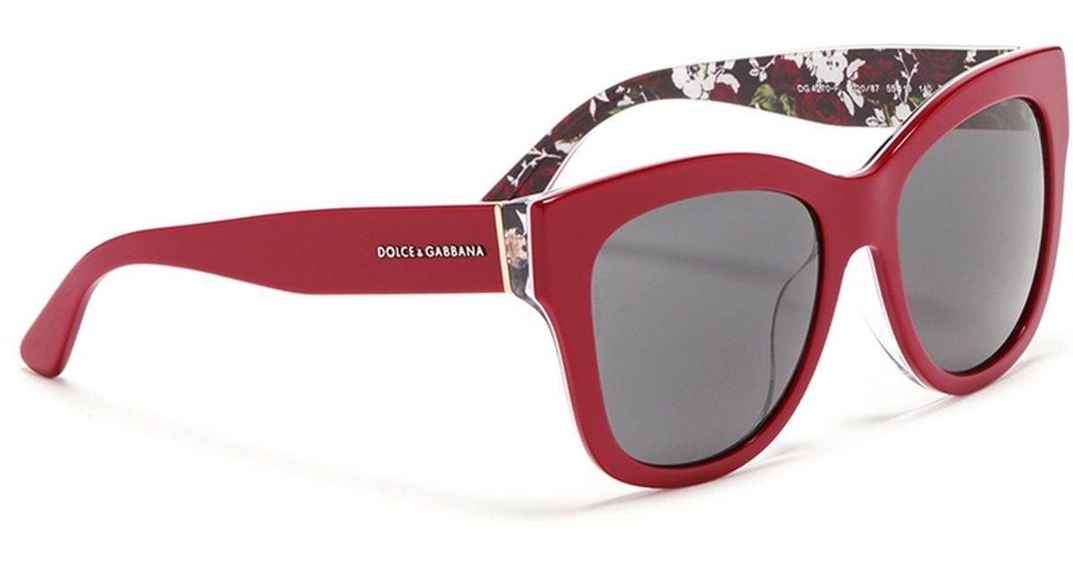 e97f59884383 Dolce & Gabbana Rose Print Interior Acetate Sunglasses in Red - Lyst