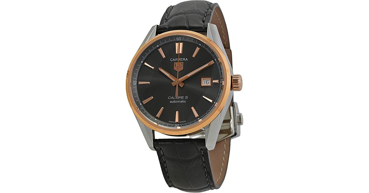 Tag Heuer Gray 215e Fc6336 Carrera Calibre 5 Stainless Steel And Rose Gold Plated Watch Men S Grey For Men