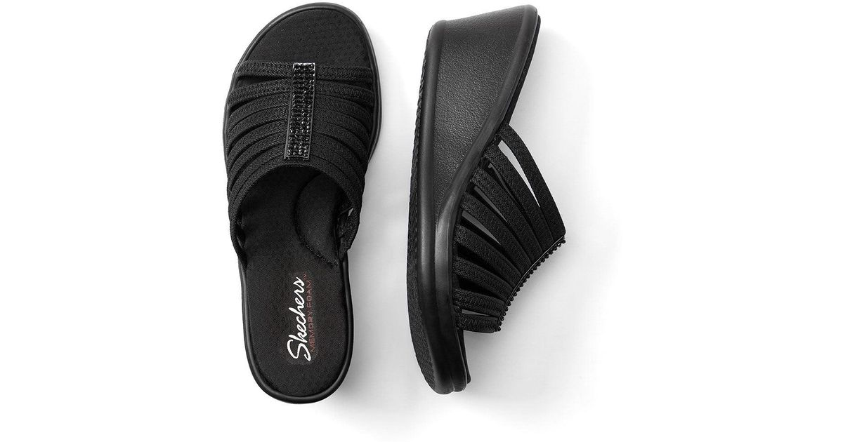 0b0e9315e30a68 Lyst - Addition Elle Wide-with Slide Sandals With Rhinestones - Skechers in  Black