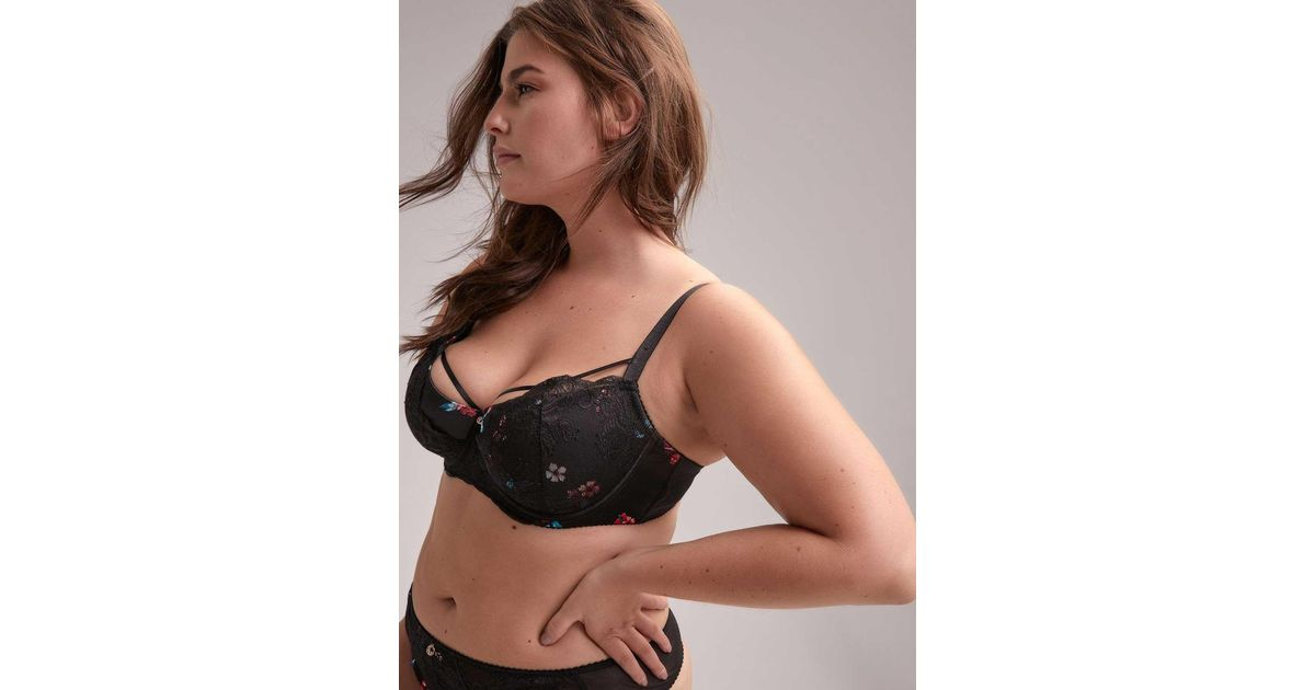 9b432c86b0a Addition Elle Multicolor Printed Diva Demi Cup Bra With Lace - Ashley Graham