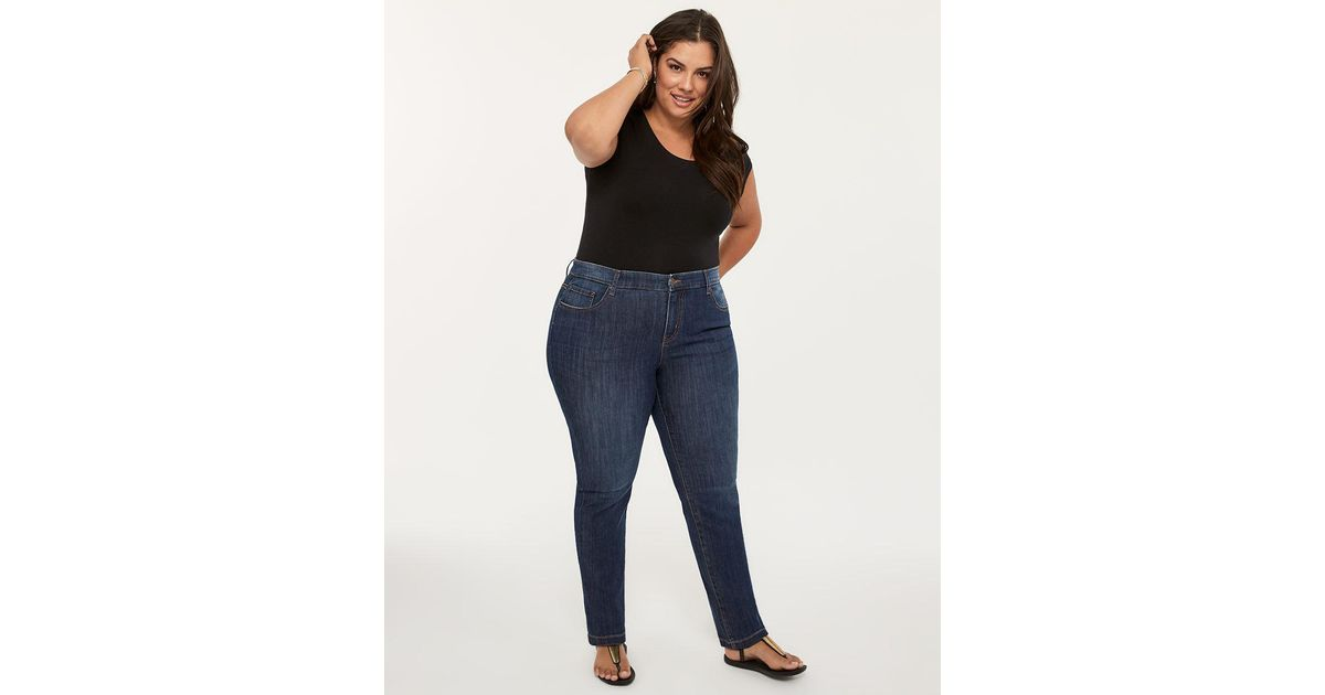 9232c2038702dd Lyst - Addition Elle Petite Slightly Curvy Fit Straight Leg Jean With  Embroidery - D/c Jeans in Blue