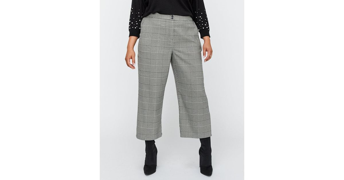 d3925bacbfb5a Lyst - Addition Elle Wide Leg Checkered Cropped Pant - Michel Studio in Gray