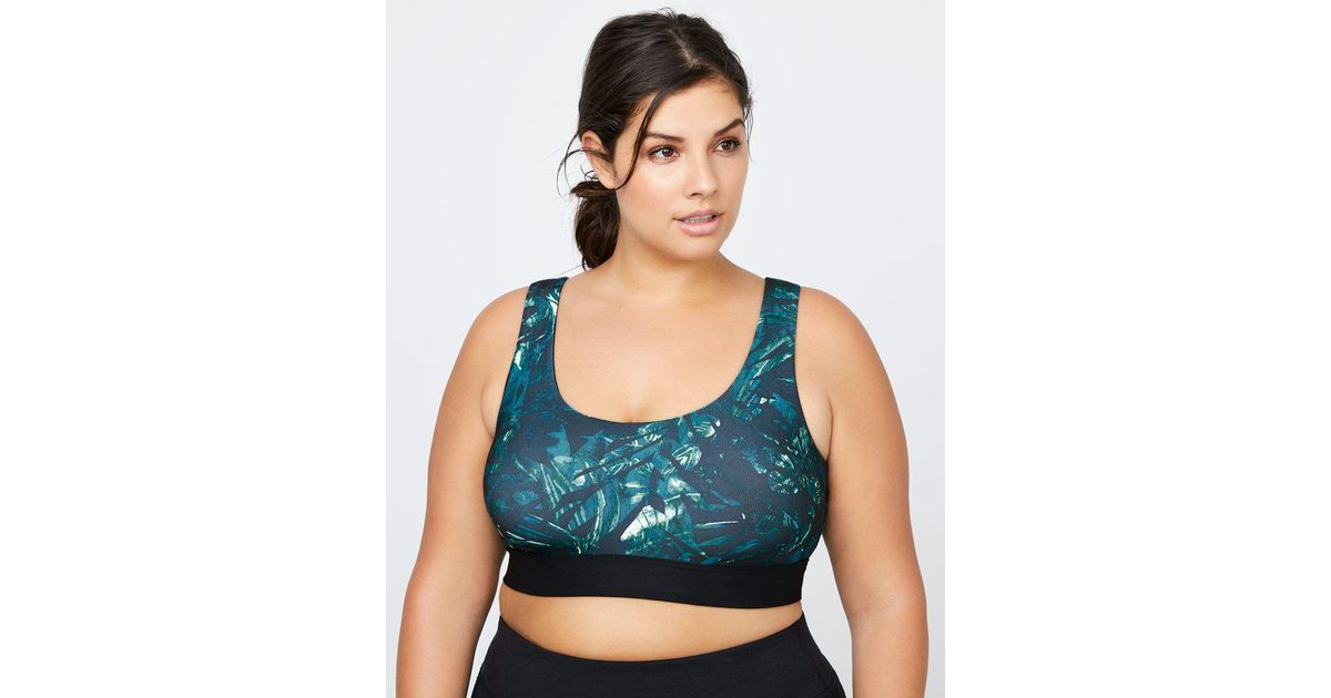 25779a229cf Lyst - Addition Elle Sports Bra With Print - Activezone in Black