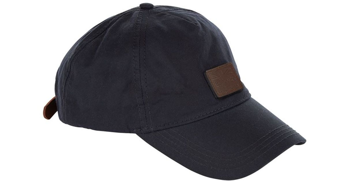 6c66a7721f4 Barbour Leather Logo Cap in Blue for Men - Lyst