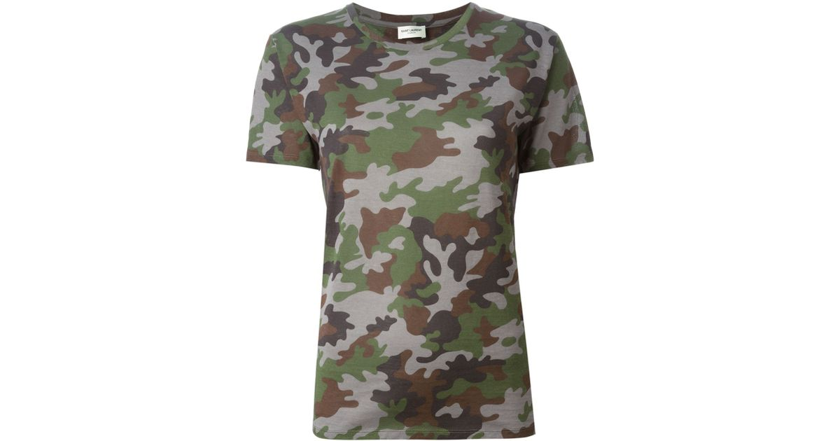 3abce2858 Saint Laurent Camouflage Print T-Shirt in Natural - Lyst