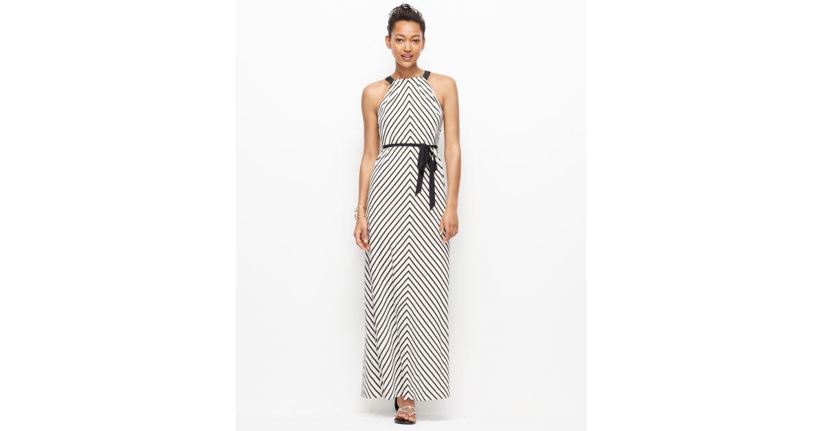 Lyst Ann Taylor Mitered Stripe Halter Maxi Dress In Black