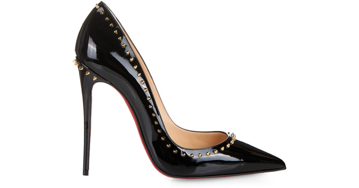 f2899572d17 Christian Louboutin Black Anjalina Studded Patent Leather Pumps