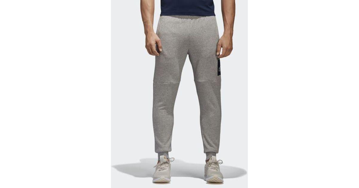 Adidas Gray Essentials Box Logo Pants for men