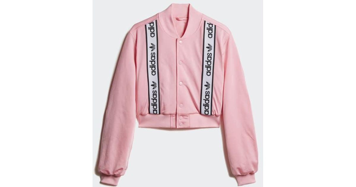 Delicioso Puro Nido  adidas Synthetic Cropped Bomber Jacket in Pink - Lyst