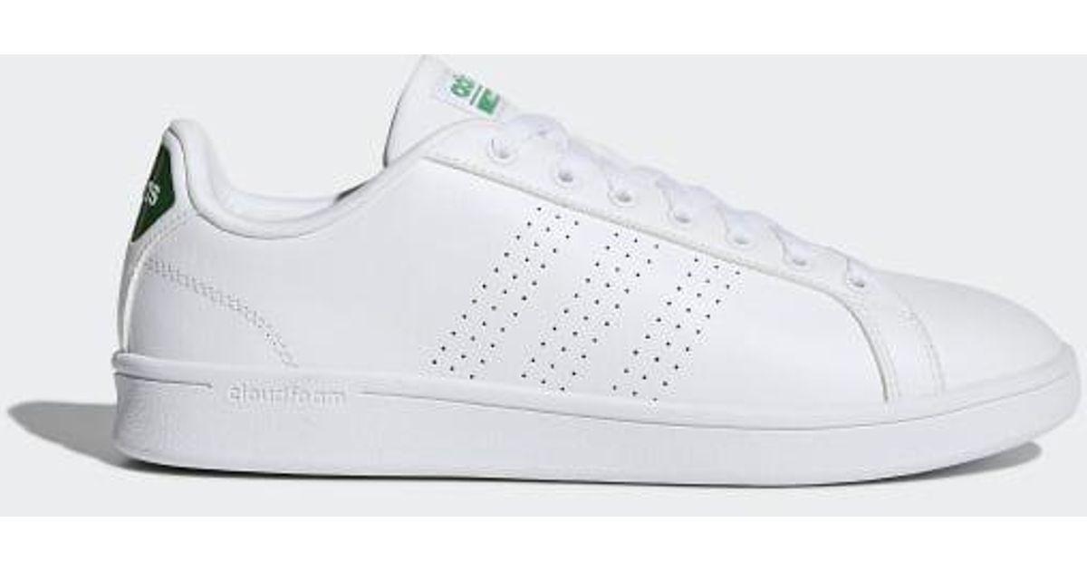 Adidas White Cloudfoam Advantage Clean Shoes for men