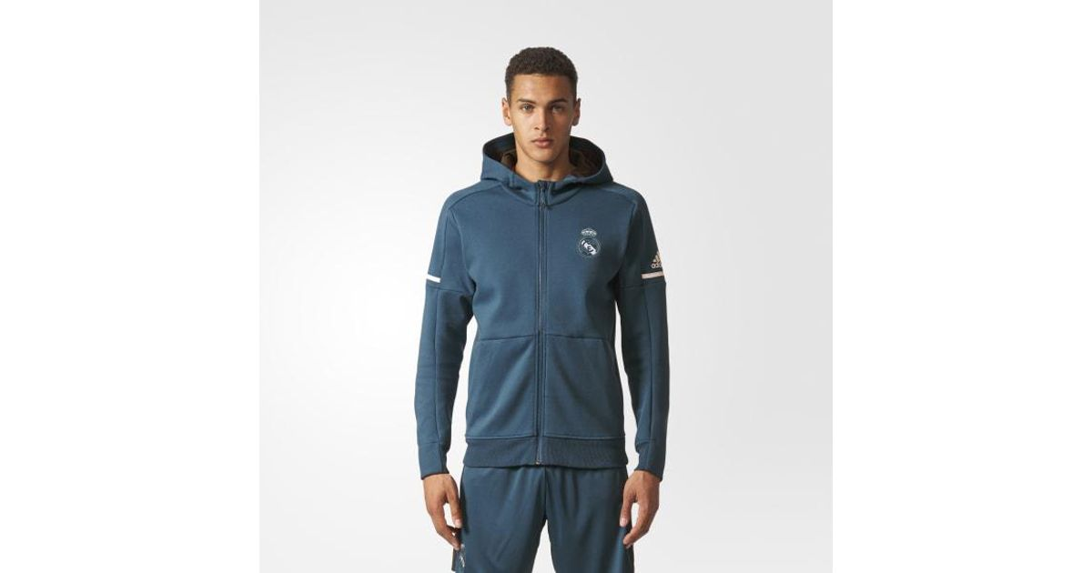 sells best supplier official site Adidas Blue Real Madrid Anthem Squad Hoodie for men