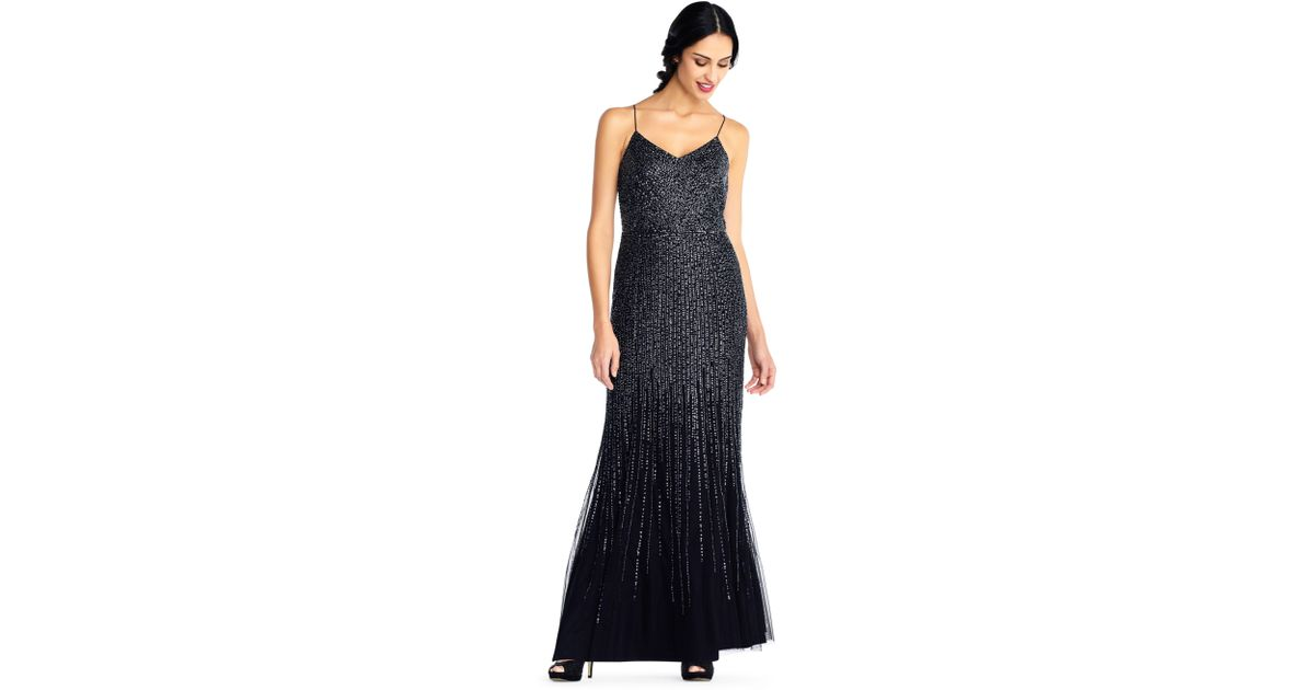 Lyst - Adrianna Papell Sequin Beaded Mermaid Gown With Spaghetti ...