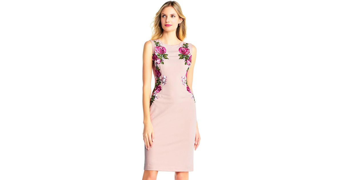 Lyst - Adrianna Papell Sleeveless Crepe Sheath Dress With ...