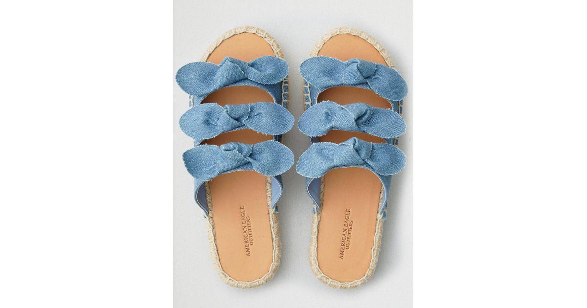 db14019c1de American Eagle Blue Denim Triple Knot Flatform Espadrille Sandal