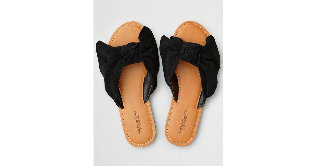 dd188cf35 American Eagle Bow Slide Sandals in Black - Lyst