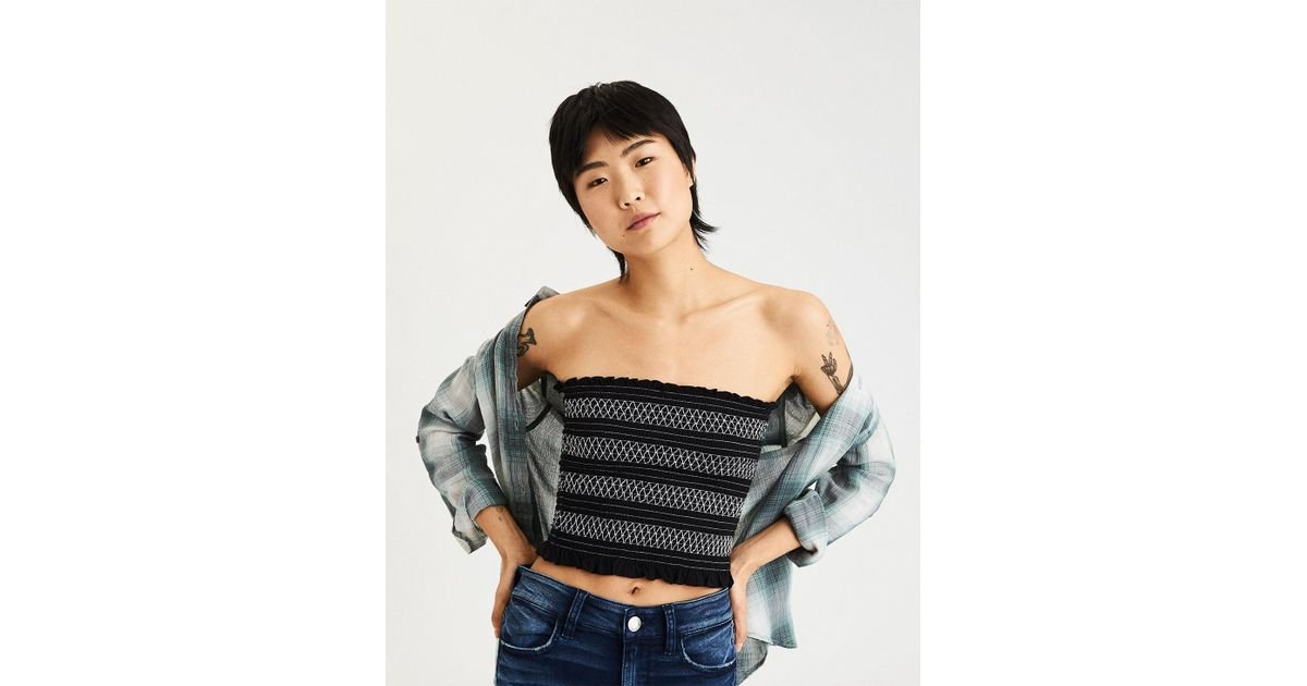 2d6e4266fb Lyst - American Eagle Ae Smocked Tube Top in Black