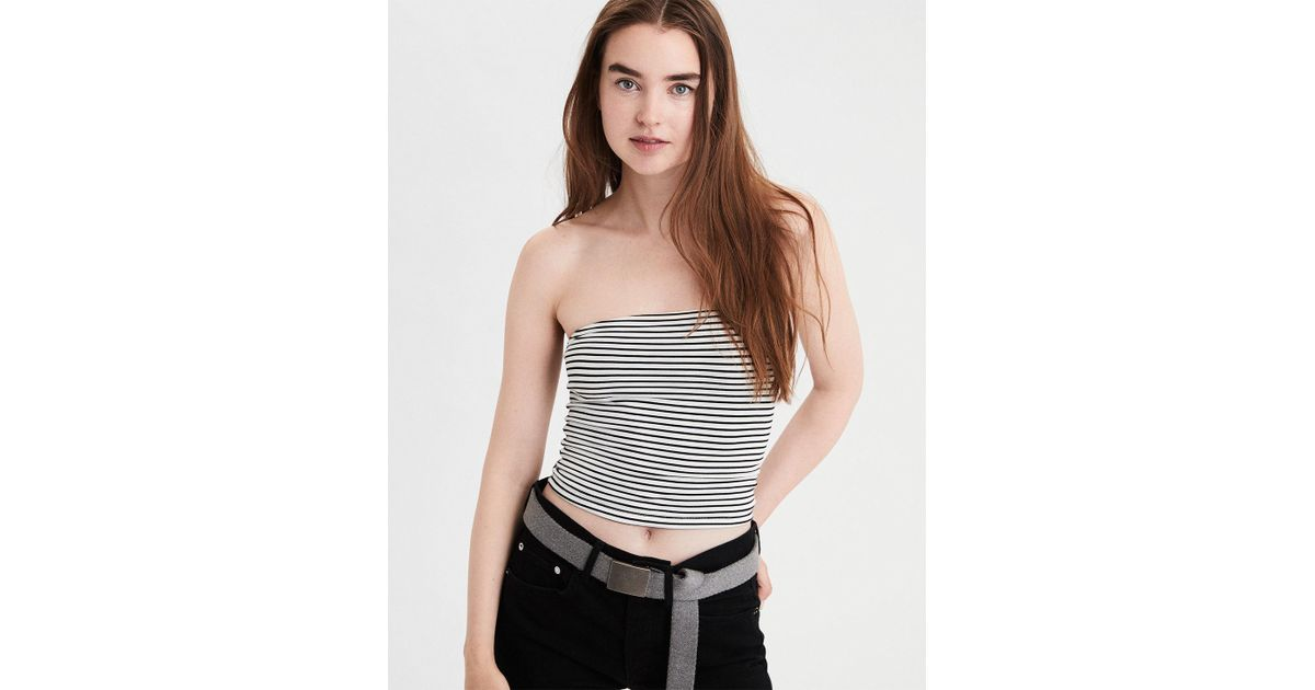 3c1f55a50aa Lyst - American Eagle Ae Striped Tube Top in White