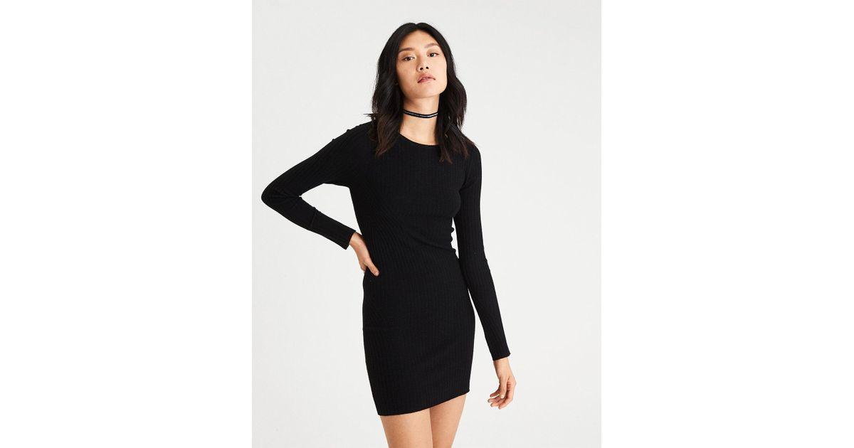 12b601dd959 Lyst - American Eagle Ae Ahh-mazingly Soft Ribbed Bodycon Sweater Dress in  Black