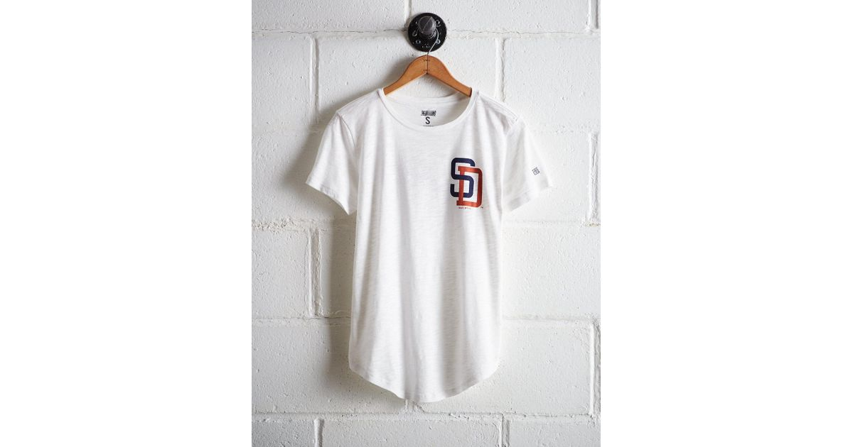 new products 23954 cd5b1 Tailgate White Women's San Diego Padres T-shirt