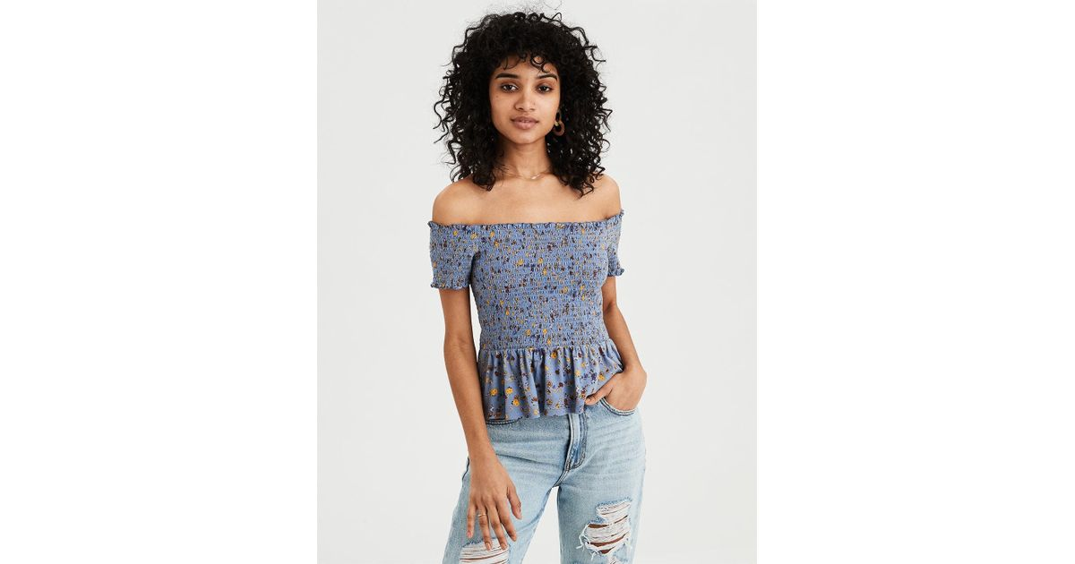 9f6b34b6 Lyst - American Eagle Ae Off-the-shoulder Smocked Peplum Floral Tee in Blue