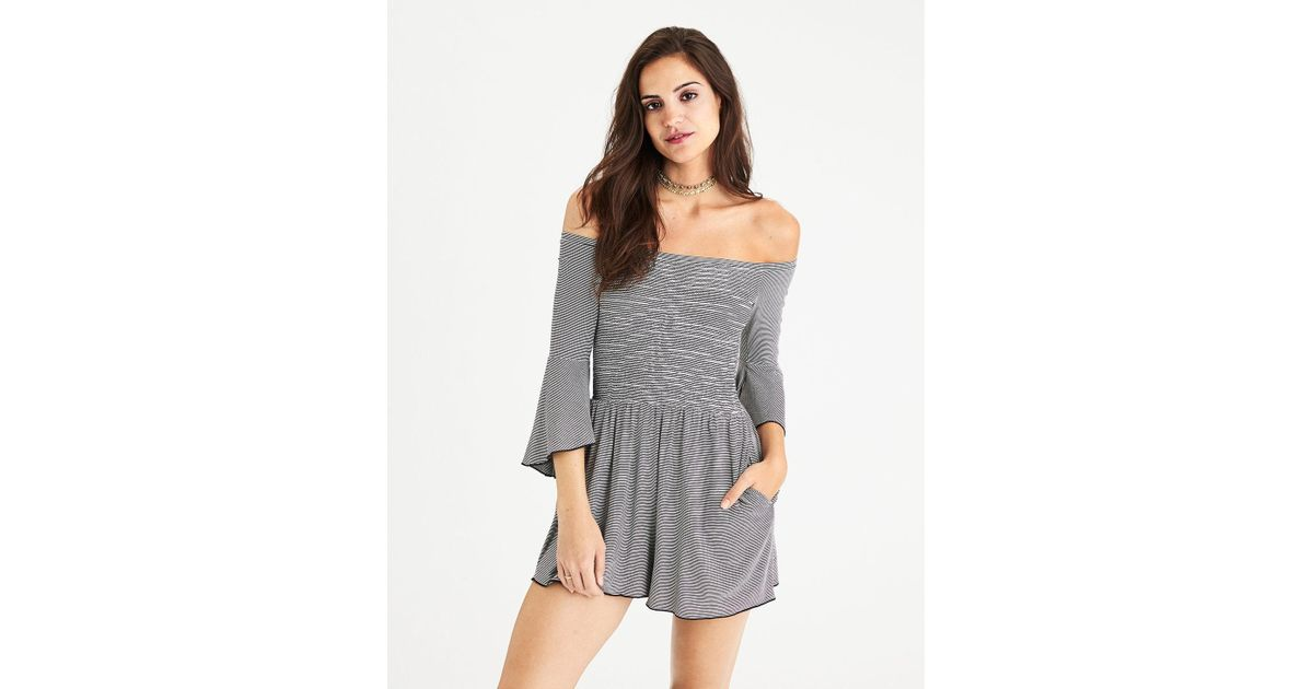 b800086c86a5 Lyst - American Eagle Ae Off-the-shoulder Bell Sleeve Romper in Black