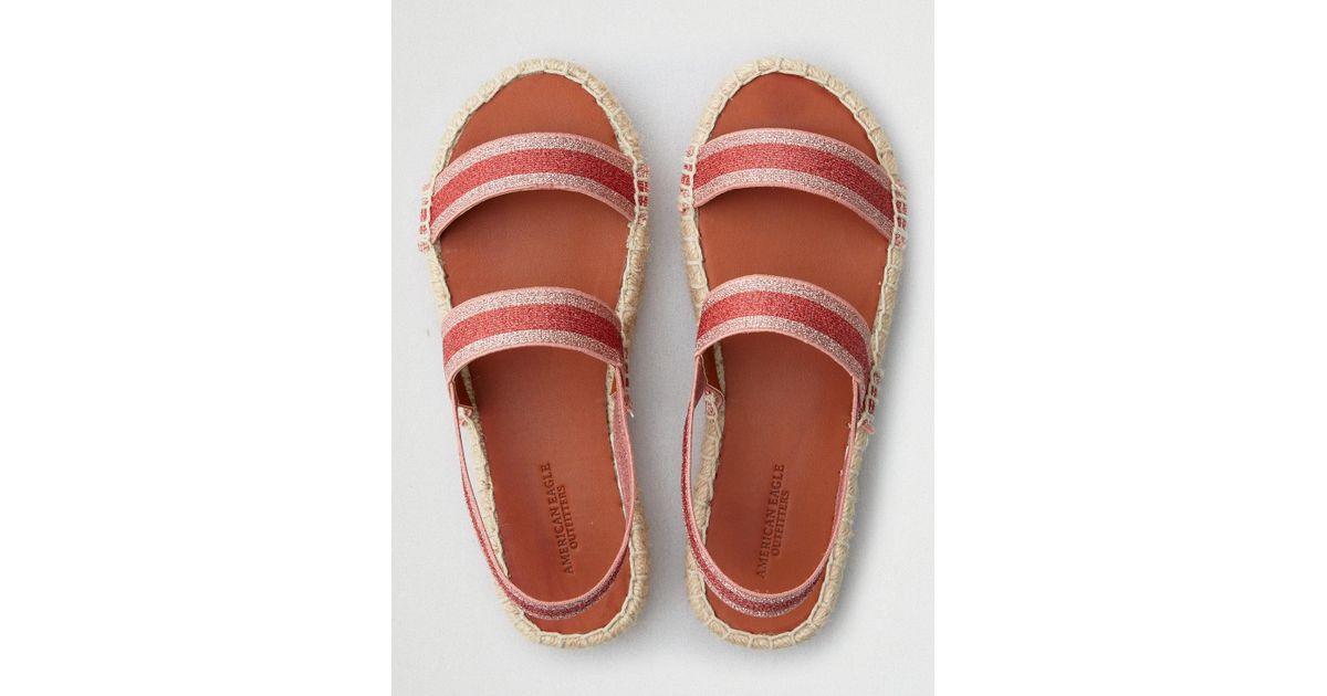 134078584a9 American Eagle Pink Double Band Flatform Espadrille Sandal
