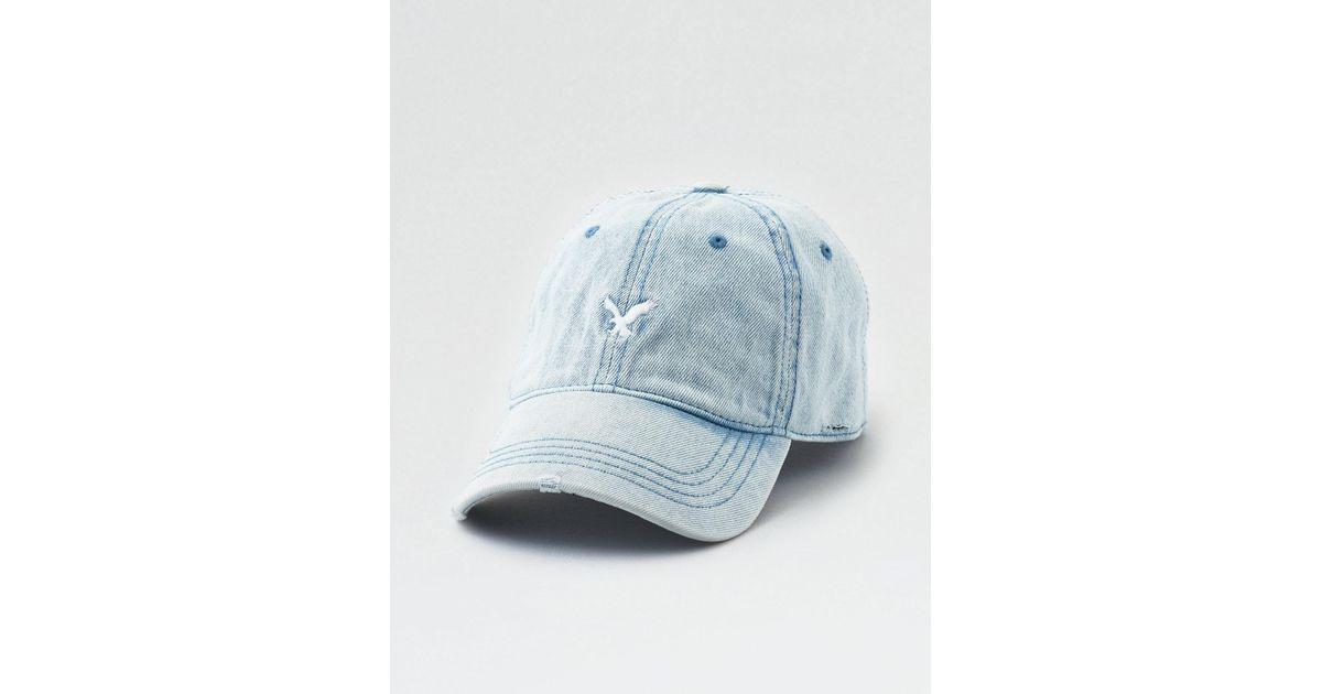 Lyst - American Eagle Ae Washed Denim Strapback Hat in Blue for Men 03006f08810