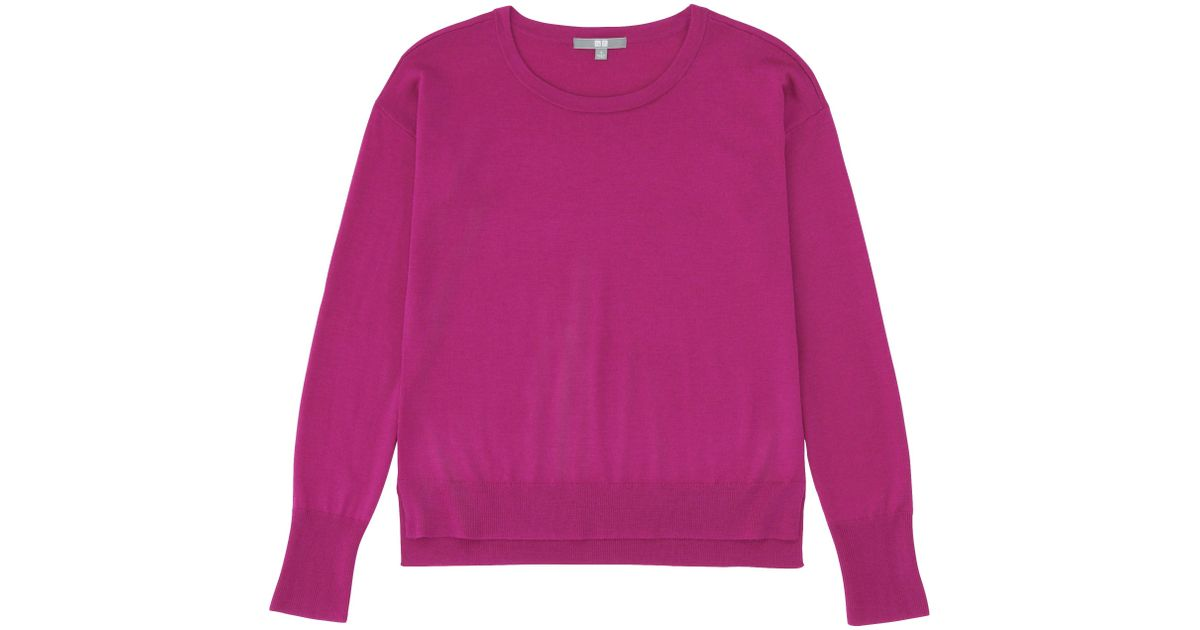 Lyst - Uniqlo Women Extra Fine Merino Crew Neck Sweater in Pink 69be42146