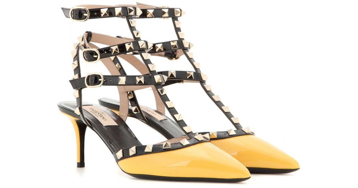 Valentino Yellow Rockstud Patent Leather Kitten,heel Pumps
