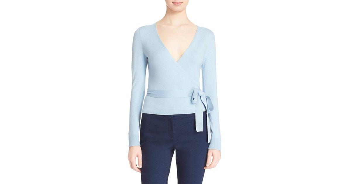 Diane von furstenberg 'ballerina' Wrap Sweater in Blue | Lyst