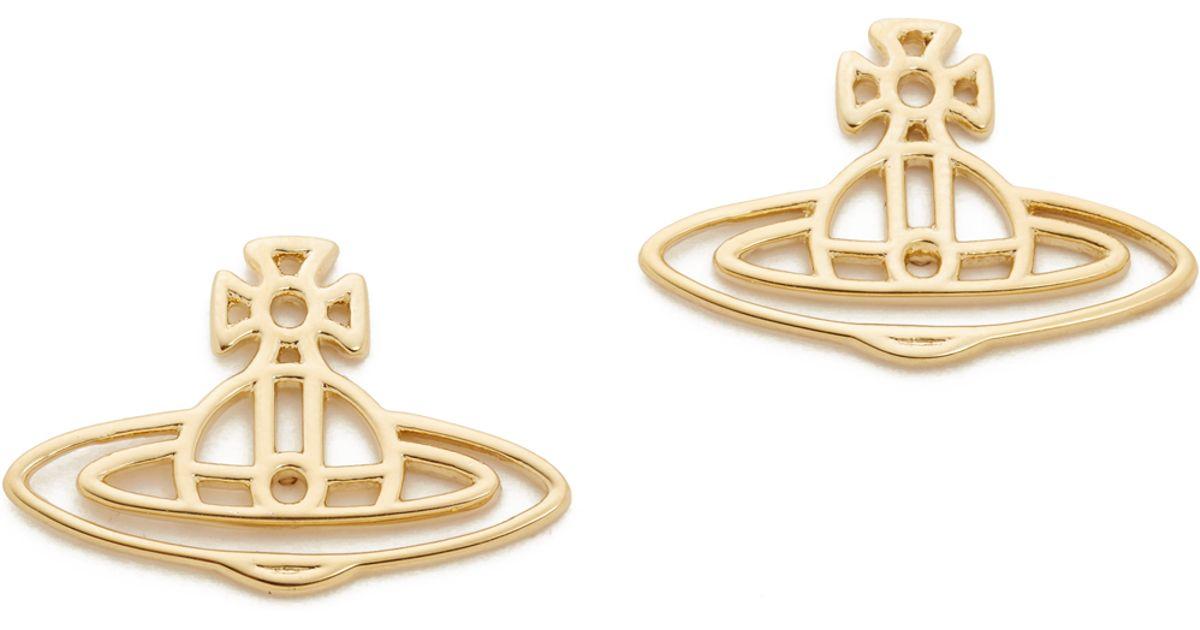 7d30c2c53 Vivienne Westwood Thin Lines Flat Orb Stud Earrings in Metallic - Lyst