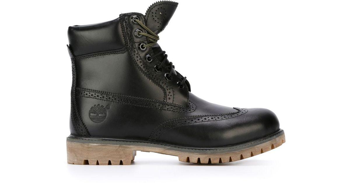 Sonrisa Café cocinar  Timberland Brogue Detail Boots in Black for Men - Lyst