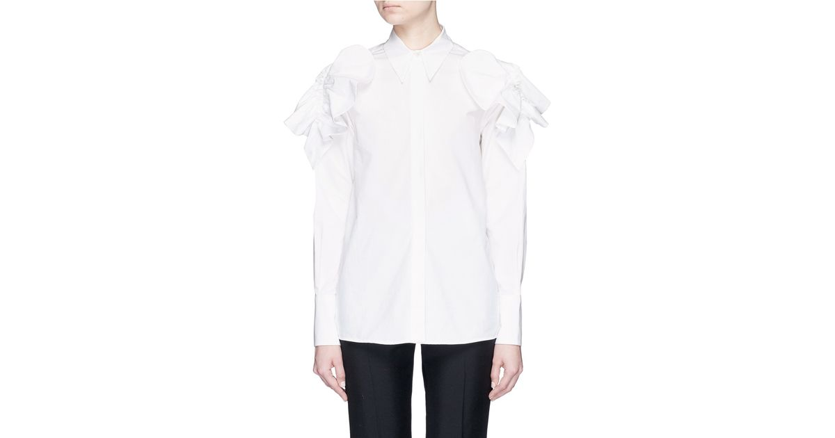 Msgm petal appliqué cotton poplin shirt in white lyst