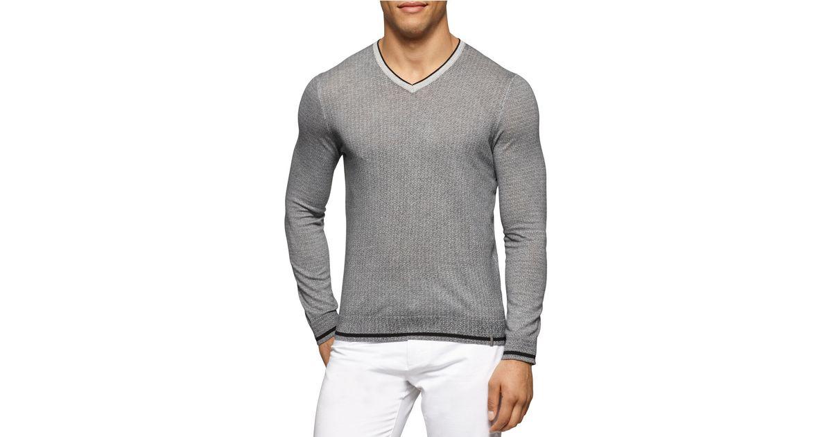 calvin klein ribbed v neck pullover in gray for men lyst. Black Bedroom Furniture Sets. Home Design Ideas