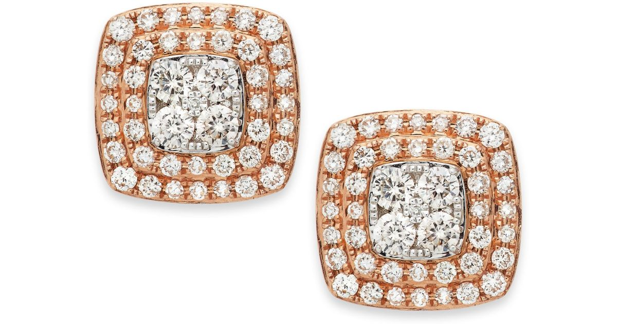 Effy Collection Pave Rose By Diamond Square Stud Earrings In 14k Gold 7 8 Ct T W Metallic Lyst