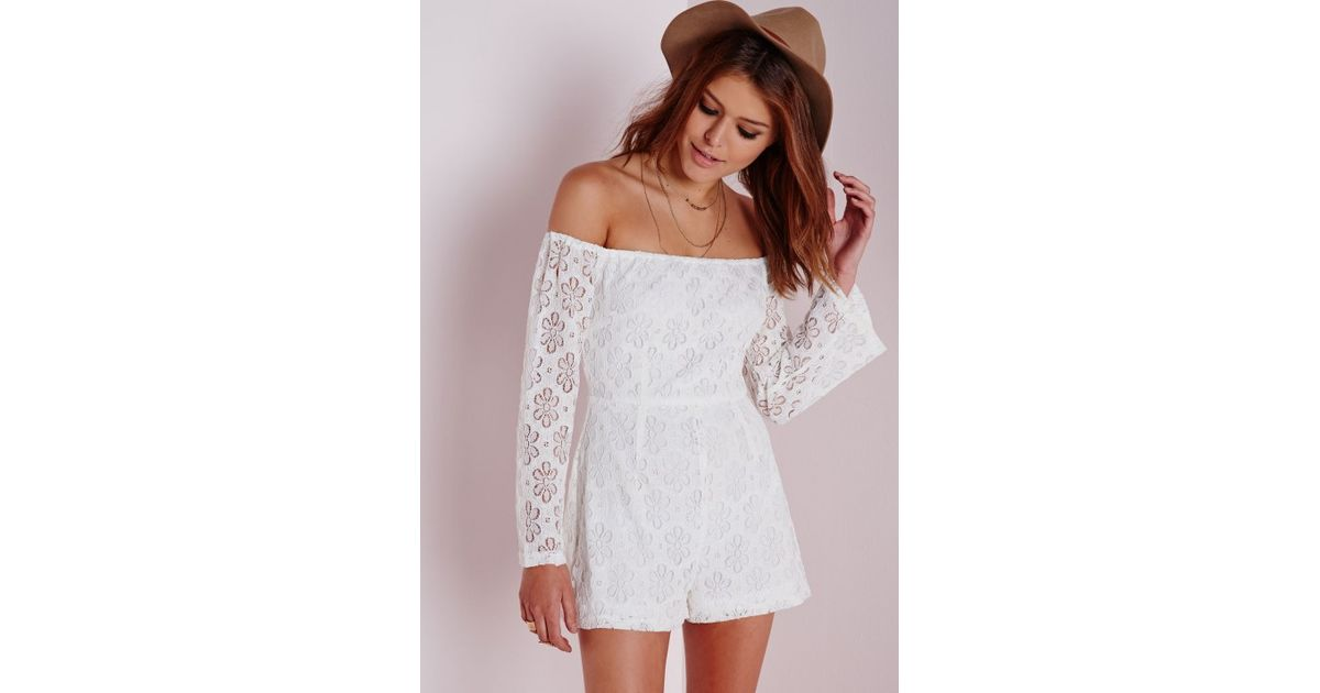 0597b12b7e47 Missguided Floral Lace Bardot Playsuit White in White - Lyst