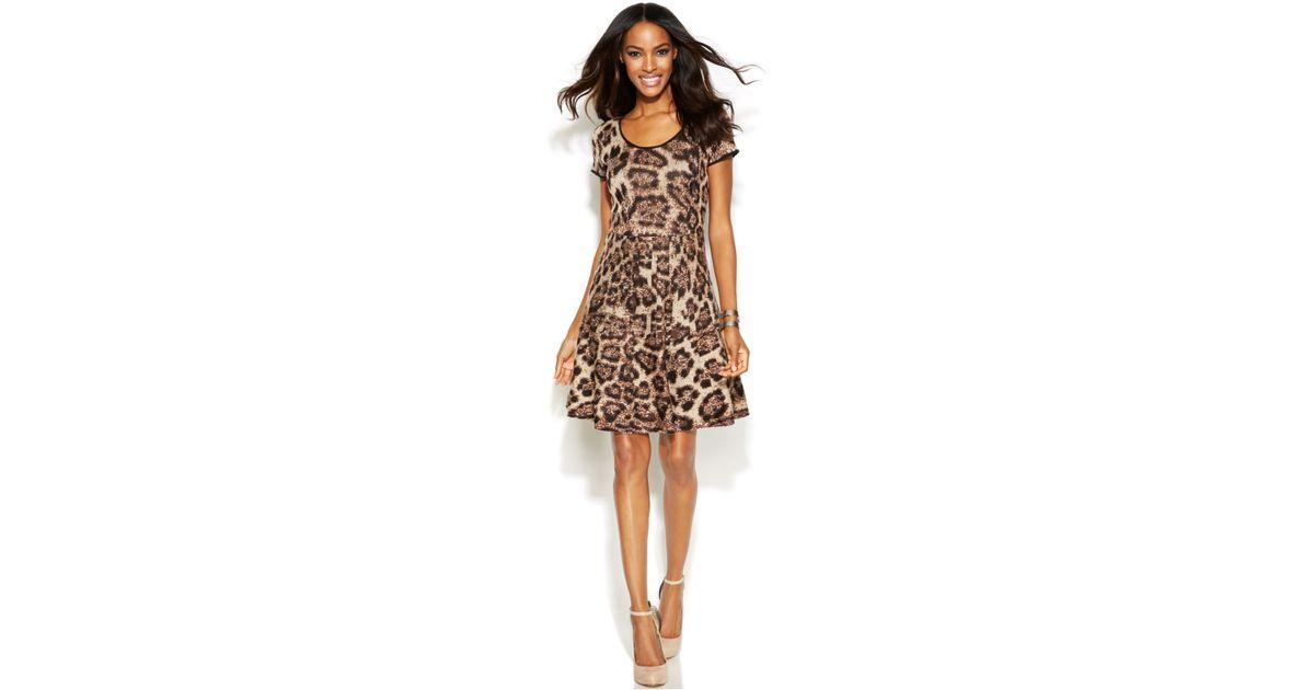 047c2b5a069 INC International Concepts Short-Sleeve Animal-Print Sweater Dress in Brown  - Lyst