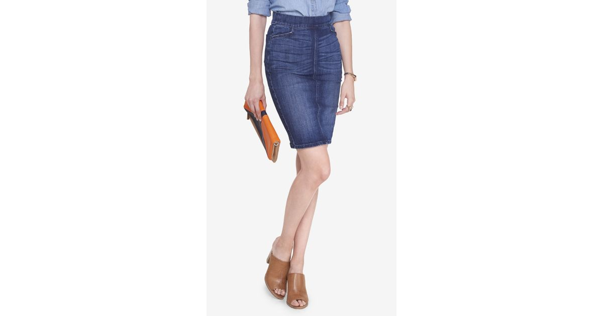 express denim patch pocket pencil skirt in blue lyst