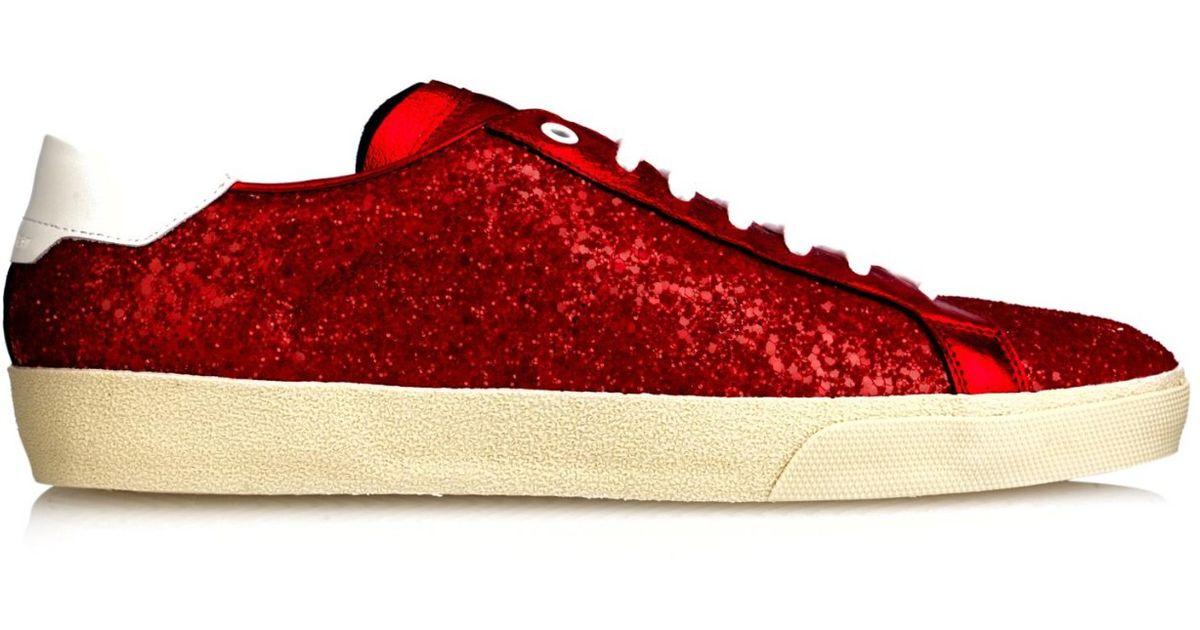Saint Laurent Glitter Low Top Sneakers In Red For Men Lyst