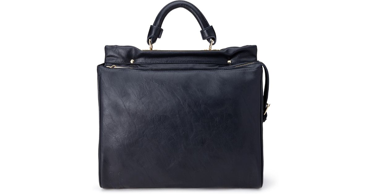 f0be6db8404e Forever 21 - Blue Structured Faux Leather Satchel - Lyst