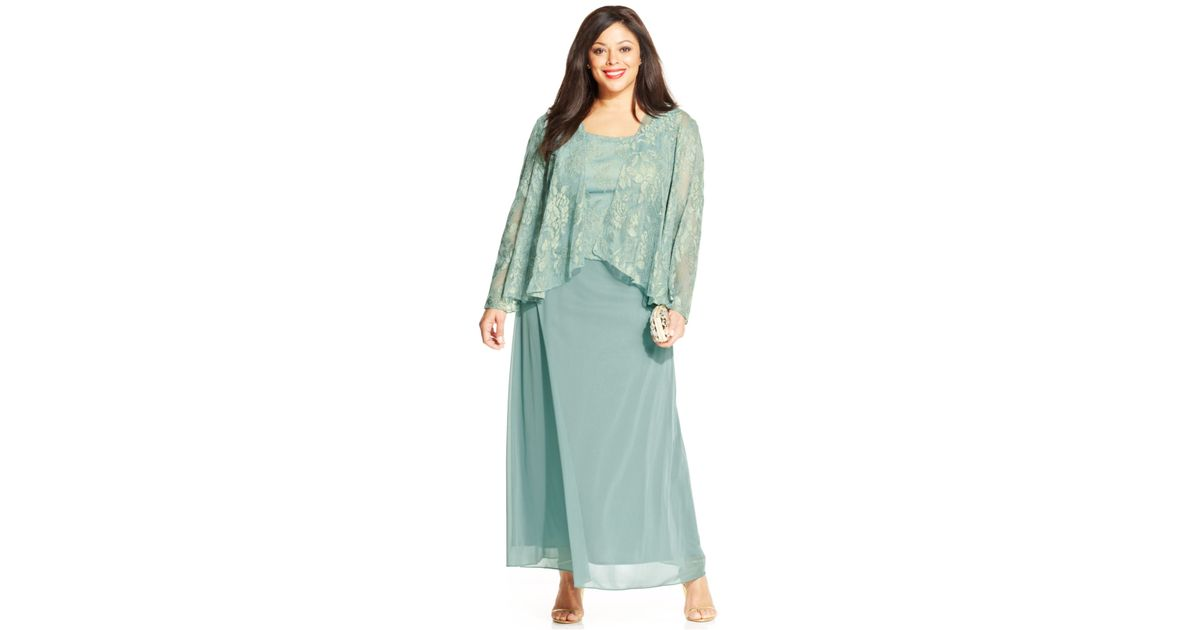 bedcad5920b63 Lyst - Patra Plus Metallic Lace Dress And Jacket in Green