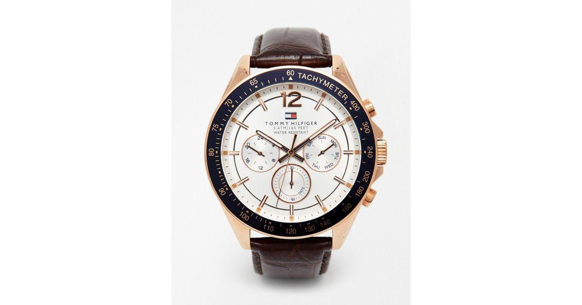 b90fce9f92 Tommy Hilfiger Metallic Luke Leather Strap Watch 1791118 for men