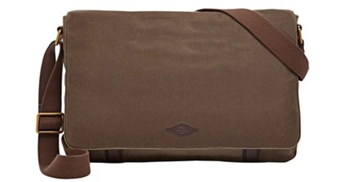 3108fb262 Fossil 'aiden' Waxed Canvas Messenger Bag in Brown for Men - Lyst