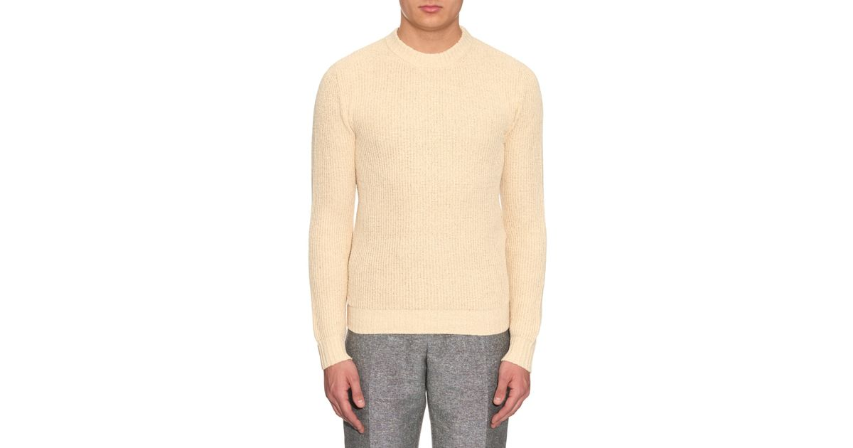 Orley Ribbed-knit Silk Sweater in Natural for Men Lyst