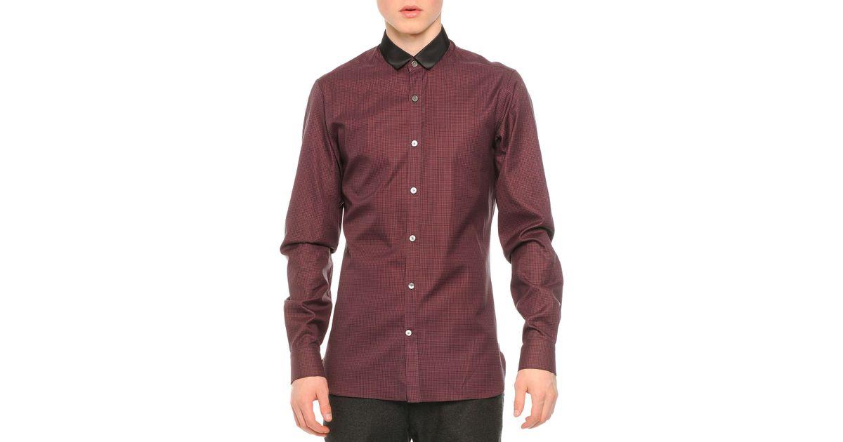 Lanvin contrast collar striped button down shirt in gray for Striped button down shirts for men