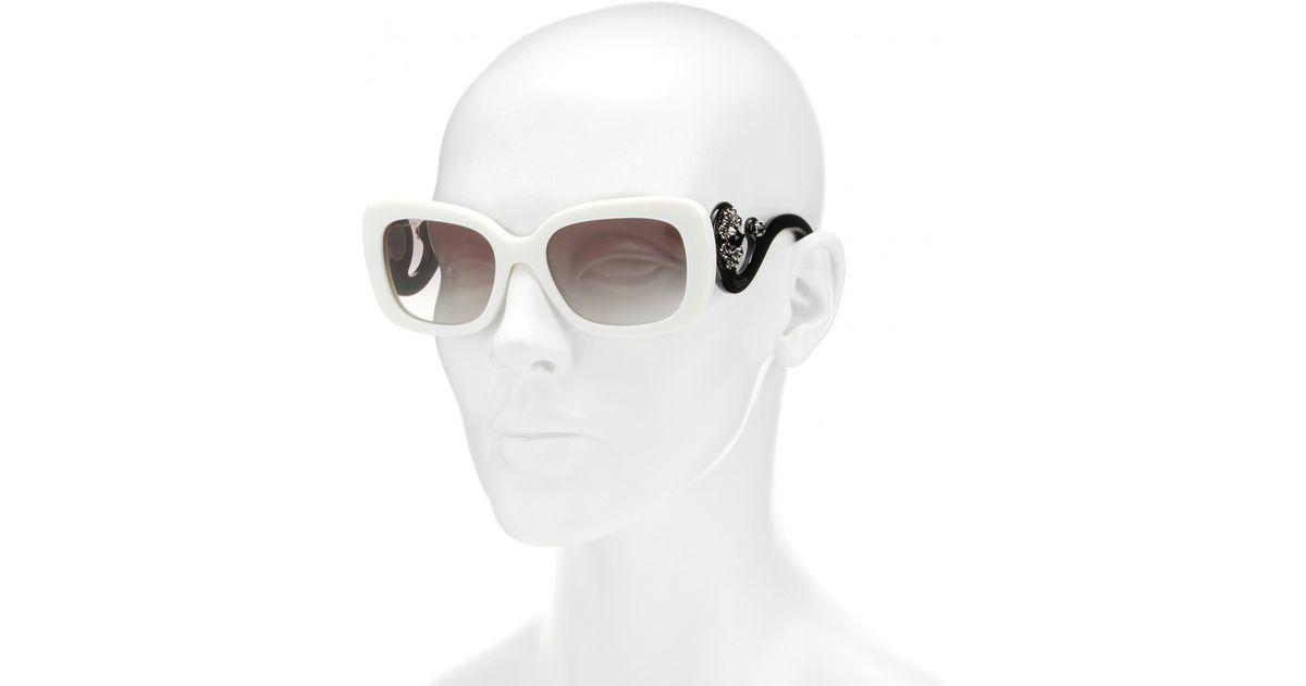 05f390fa74f2c Prada Minimal Baroque Square-Frame Sunglasses in White - Lyst